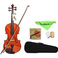 Viola de madera de Andoer®, tamaño completo 4/4, arce sólido, 40,6 cm, con funda, arco, puente de resina y cuerdas