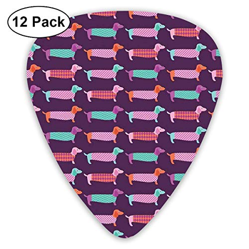 Guitar Picks 12-Pack,Sixties Inspired Color Palette With Abstract Pet Puppies Pattern Funky Animals Funky Animal