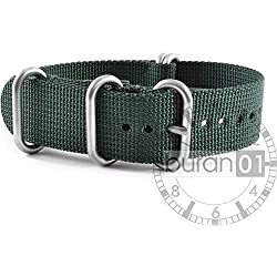 VK from Buran01.com NATO WATCH STRAP FOR NYLON STRONG ZULU Darkgreen (green) 24 mm