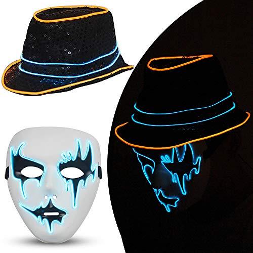GUNAI Halloween LED Light Maske and LED Light Hut,Urlaub Party Tanzhut,Cosplay Maske für Festival Cosplay Halloween Kostüm,Horror Leuchtende Maske(EIN Satz)