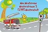 Namensetiketten Adressaufkleber Schuletiketten für Kinder Set mit Wunschtext Motiv Feuerwehr