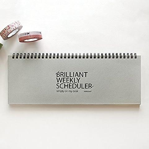 PAPERIAN Brilliant Weekly Scheduler - Wirebound Undated Weekly Planner Pad Scheduler (Gray)
