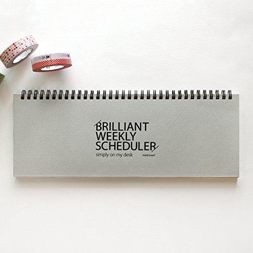 PAPERIAN Brillante wöchentliche Scheduler - Wirebound undatierte Wochenplaner Pad Scheduler (grau) (Himbeere Blatt-extrakt)