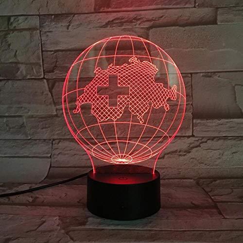 (HLDWMX) 3D Nachtlicht National Map Schreibtischlampe Schreibtisch Illusion Sensor Kinder Globus LED Touch + Remote 7 Farbe Nachtlicht
