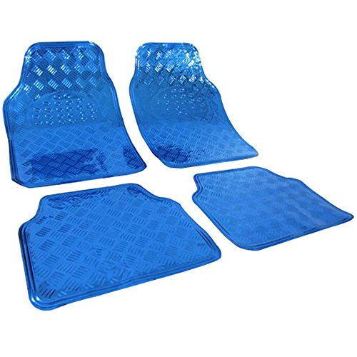Preisvergleich Produktbild WOLTU Universal Auto Fußmatten Matten, ALU LOOK Riffelblech, Blau 4er-Set Matten, AM7109