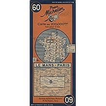 Ancienne Carte Michelin n° 60 : Le Mans - Paris Carte au 200.000e. Numéro blanc dans un cercle bleu. (Carte Michelin, Normandie, Orne, Eure-et-Loir, Sarthe) 1936.