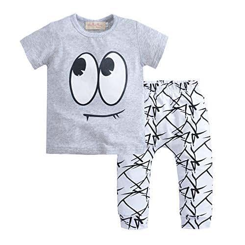47d63e37c6 Maglietta grigia da bambino con pantaloni bianchi da 0 a 3 mesi taglia 60,  bimbo unisex piccolo vestito grigio moda neonato.