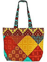 De usos múltiples multicolor Bolsa de la compra - La bolsa de asas de algodón con cierre de cremallera y dos asas