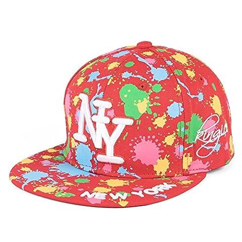 Unisex NY Adjustable Snapback Baseball Cap - Red-Blue-Green-Pink