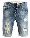 Minetom Elasticizzati da Uomo Estivo Sciolto Gamba a Tubo Denim Jeans Spiaggia Pantaloni Corti Bermuda Pantaloncini Blu 34