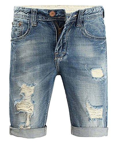 Minetom elasticizzati da uomo estivo sciolto gamba a tubo denim jeans spiaggia pantaloni corti bermuda pantaloncini blu 32