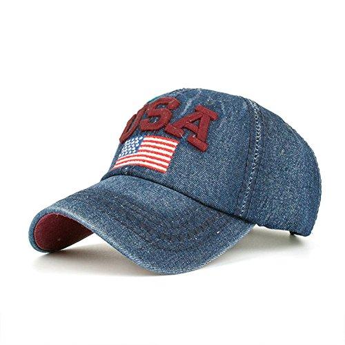 Ansenesna Frauen Männer USA Denim Strass Baseball Cap SnapBack Hip Hop Flat Hut (Navy) Navy Ralph Lauren Hut