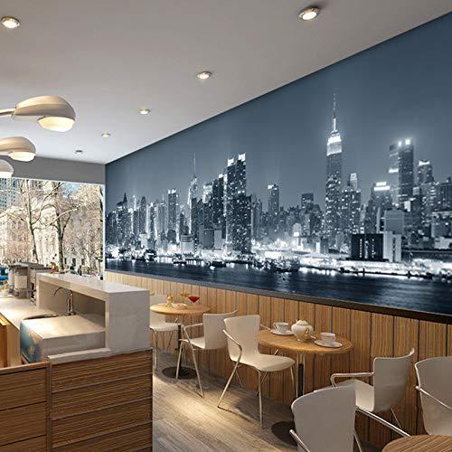 MuralXW Europäische Stadt gebäude Wohnzimmer tv Sofa hintergrundbild schwarz und weiß New York Nacht 3D fototapete-400x280cm