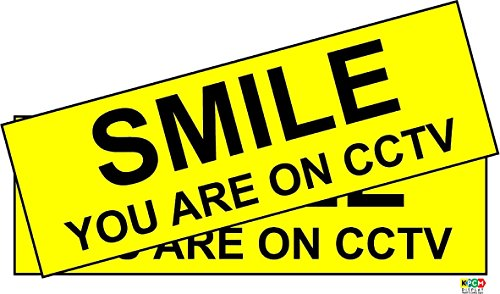 KPCM Display 2 SMILE YOU ARE ON CCTV stickers for home 200mm x 65mm