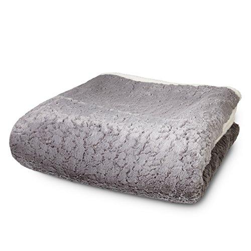 Lumaland plaid copridivano simil pelliccia di agnello e visone circa 220 x 240 cm coperta reversibile bianco / grigio.