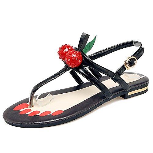 Damen Zehentrenner T-Spange Sandalen Kuhleder Flach Schuhe Schnalle mit Kirsche Schwarzrot