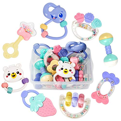 8PCS Baby Rattles and Toys Gift Set Hand Jingle Shaking Bell Infant Newborn Teething Toys with Suitcase