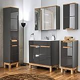 Lomadox Komplett Badmöbel Set 5-teilig mit Waschtischunterschrank und Keramik Waschtisch in 80 cm Hochglanz grau Hochschrank, Hängeschrank, Unterschrank und Spiegelschrank