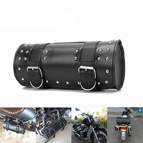 LIDAUTO 2PCS Motorrad-Sattelstamm Motorräder Seitenständer Taschen Gepäckträger-Boxen hinten PU Leder Für Harley Schwarz,1PCS
