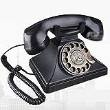 Europäisches Telefon Antikes Telefon Amerikanisches Retro- Telefon Hauptdesktop-Festnetz Schwarzes Metalldrehwahltelefon