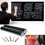 DP DESIGN® PIZARRA ADHESIVA NEGRA 200 X 60 CM EXTRAÍBLE PARA PARED MEMO EDUCATIVA PVC TAGLIABILE TIZAS INCLUYE 5