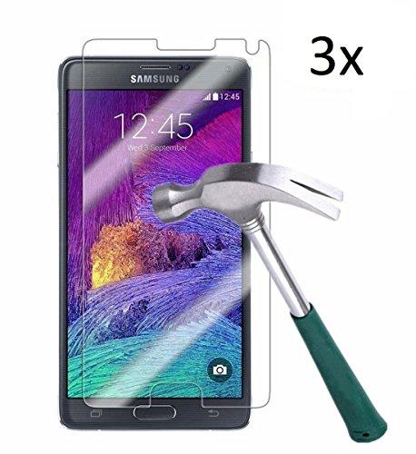 Vada-Tec | 3X bruchsicheres Panzerglas für Samsung Galaxy Note 4 | Schutzfolie aus 9H Echtglas | Schutzglas zur Vermeidung von Bildschirmschaden | blasenfreie Anbringung | 3 Stück
