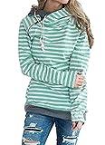 ASSKDAN Damen Gestreift Pulli Sweatshirts Hoodie Sport Langarm Reißverschluss Pullover Outerwear (EU 38/M, Grün)