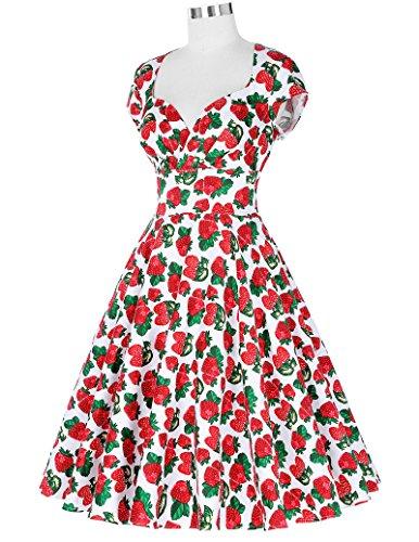 Belle Poque Damen Vintage Retro 1950er Kleid Festliche Kleid Partykleid Farbe10