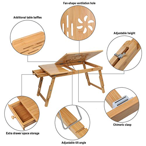 Wooden-Life Adjustable Bamboo Laptop Desk Multi Tasking Bed Tray Portable Foldable Breakfast Serving Tray with Drawer
