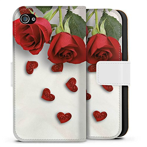 Apple iPhone X Silikon Hülle Case Schutzhülle Rose Roses and Hearts Herz Sideflip Tasche weiß