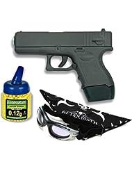 Pack Pistola airsoft Galaxy negra. Metalica. Calibre 6mm. Potencia 0,5 Julios + Gafas antivaho + Biberon 1000 bolas