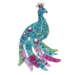 AILUOR Damen Vintage Cocky Pfau-Vogel-Brosche, Eleganter Charme Bunten Österreichische Rhinestone-Kristalltier Breastpin Für Hochzeit/Bankett/Bouquet