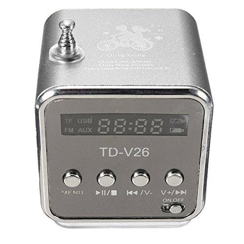 Preisvergleich Produktbild F-eshion TD-V26 Tragbare Mini Digital Stereo Lautsprecher-Lautsprecher Sprecher Mp3 Musik Player UKW-Radio Microsd TF Schwarz
