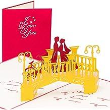 """Hochzeitskarte """"Pärchen auf Brücke"""", Edle Hochzeitskarte, Großformat, 3D Pop up, 20 x 15 cm, handgefertigt, Karte, Liebe, Liebespaar, Brautpaar, Herz, Grußkarten, Glückwunschkarten, Valentinstag, Valentinskarte, Valentinstagskarte, Karte zur Verlobung, Verlobungskarte"""