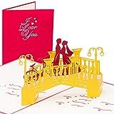 Hochzeitskarte Pärchen auf Brücke, Edle Hochzeitskarte, Großformat, 3D Pop up, 20 x 15 cm, handgefertigt, Karte, Liebe, Liebespaar, Brautpaar, Herz, Grußkarten, Glückwunschkarten, Valentinstag, Valentinskarte, Valentinstagskarte, Karte zur Verlobung, Verlobungskarte
