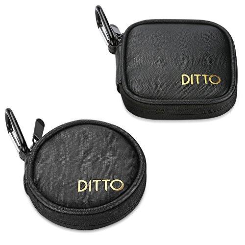 Ditto Kopfhörer Case, Multifunktional Reise Tragetasche Aufbewahrungstasche PU Leder Kopfhörer Harte Hülle für Kopfhörer mp3 Verdrahtet/Bluetooth Headset Kopfhörer -2 Stück, Schwarz (Münze ärmel)