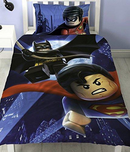 LEGO Batman Superman Schlacht Single Panel Bettbezug Polycotton Bettwäsche Set Wendbar