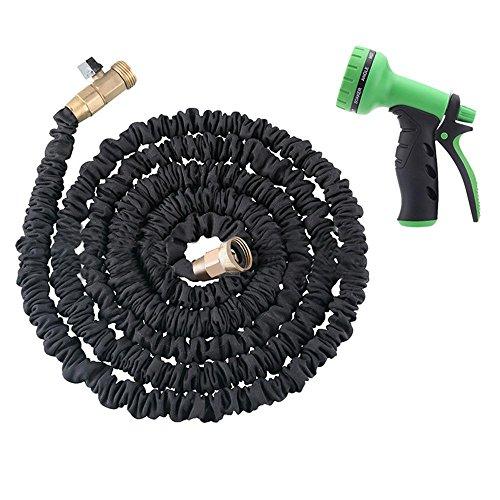 25FT Erweiterbar Wasser Schlauch, Kobwa Garten Wasser Schlauch Düse Spray Gun für Bewässerung, Pflanzen, Auto waschen und Duschen Pets, schwarz, 22,9 m