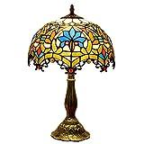 OOFAY Lights Tiffany Style 12-Zoll-Glas-Tischlampe, Vintage Creative E27 Edison Deco Tisch Licht Mit Zink-Legierung Halter Für Schlafzimmer, Bett, Schreibtisch, Cafe 220V Max. 60W