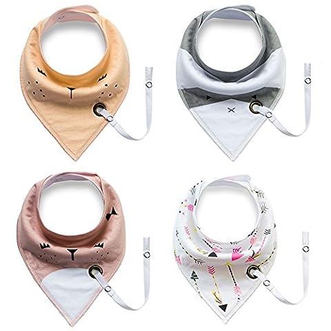 iEFiEL 4pcs Enfant Bébé Bandana Bavoirs Imperméable de Coton avec Bouton Serviette Salive pour Repas B type Taille unique