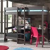Cama litera con Sofá-cama y escritorio, color gris