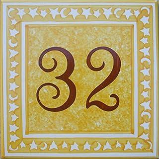 Azul'Decor35 Start-Kennzeichen mit handbemalten glasierten Steingut Straße - Wählen Sie Ihre Nummer!