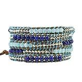 KELITCH Azul Lapis Lazuli Amazonita Abalorios Pulsera del Abrigo Alrededor Cuero Pulsera