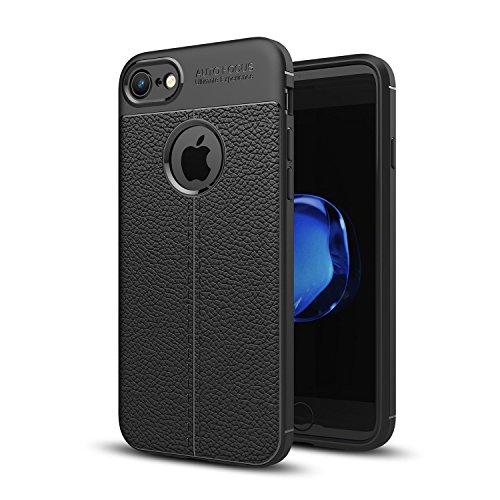 DBIT iPhone 7 / iPhone 8 Custodia ,Coperchio di Protezione Compatto Litchi pelle con Cassa Antiurto in Silicone Ultra Morbido e Leggero TPU Case Cover + 1 Pellicola Protettiva per iPhone 7 / iPhone 8  Nero