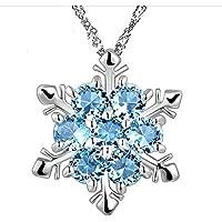 LUFA Collar de Piedra Natural para Mujeres Colgante de Plata de Cristal con Estilo de Copo de Nieve