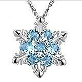 Bobury Collar de Piedra Natural para Mujeres Colgante de Plata de Cristal con Estilo de Copo de Nieve