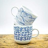 Kaffeebecher 2er-Set - 2 Wellen Motive - Maritime Porzellan-Tasse original aus dem Norden