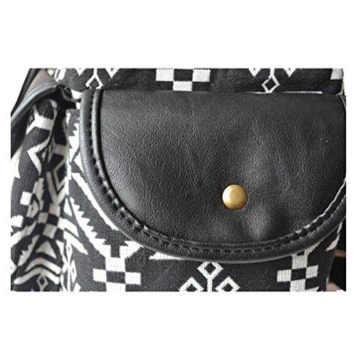 GWELL Vintage Boho Canvas Damen Mädchen Rucksack Daypack Backpacks Casual Schulrucksack schwarz schwarz