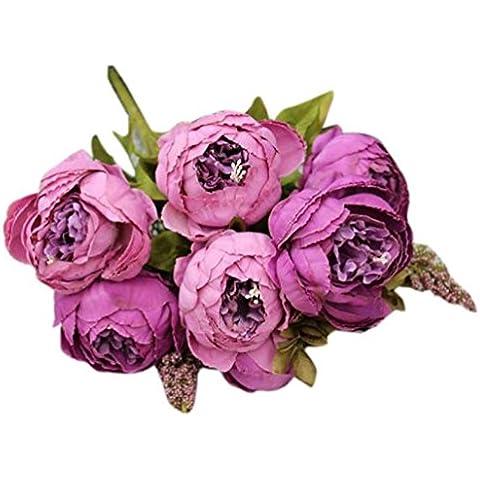 Sanysis flores artificiales exterior, 1 ramo 8 cabezas de flores de seda (Púrpura)