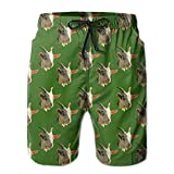 cleaer DS-co Goat Head Green Men's Summer Beach Quick-Dry Surf Swim Trunks Boardshorts Cargo Pants Small